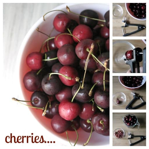 pitting cherries with OXO 1 Cherry Love and Black Forest Parfait
