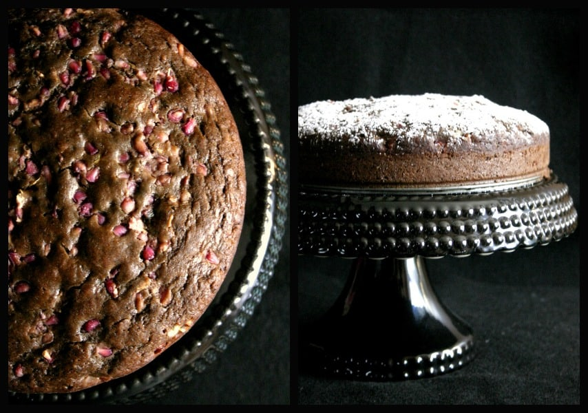 pom cake collage Dark Chocolate Pomegranate Cake