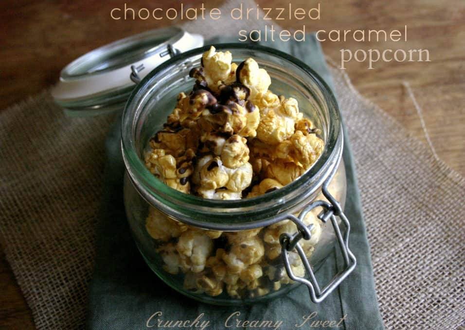 caramel popcorn 3a Chocolate Drizzled Salted Caramel Popcorn {microwave style}