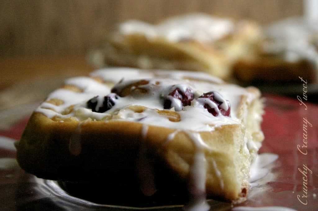 sweet rolls 3a Cranberry Coconut Sweet Rolls with Spiked Eggnog Cream Cheese Glaze