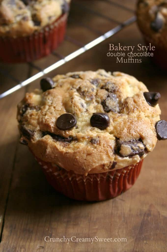 bakery style muffins B 680x1024 Bakery Style Double Chocolate Muffins Recipe