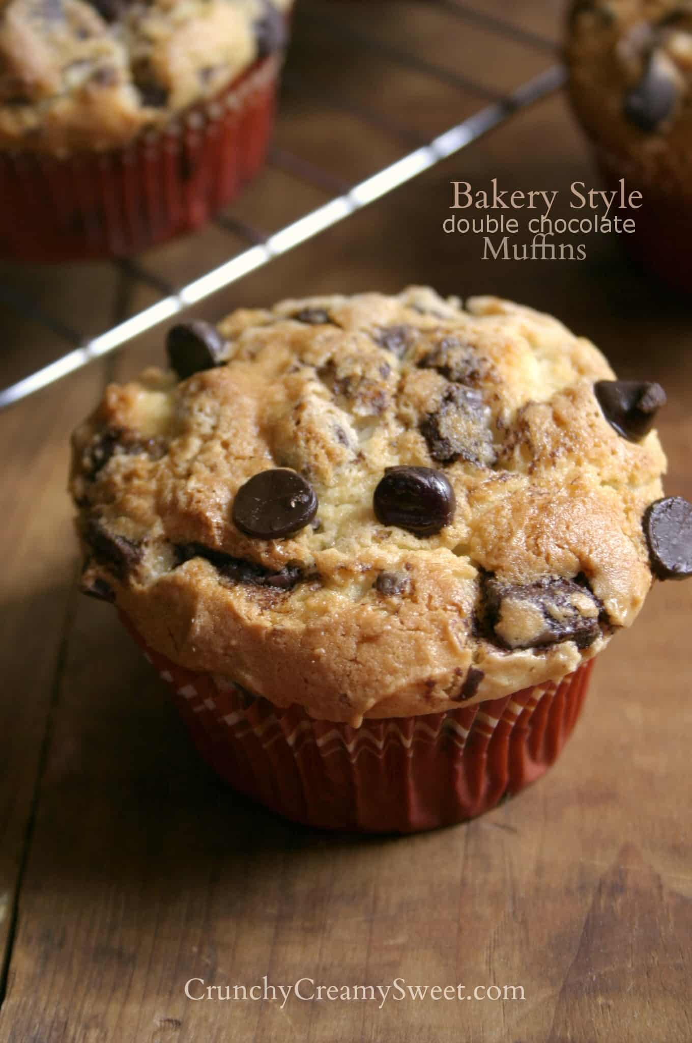 bakery style muffins B 680x1024 Bakery Style Double Chocolate Muffins ...