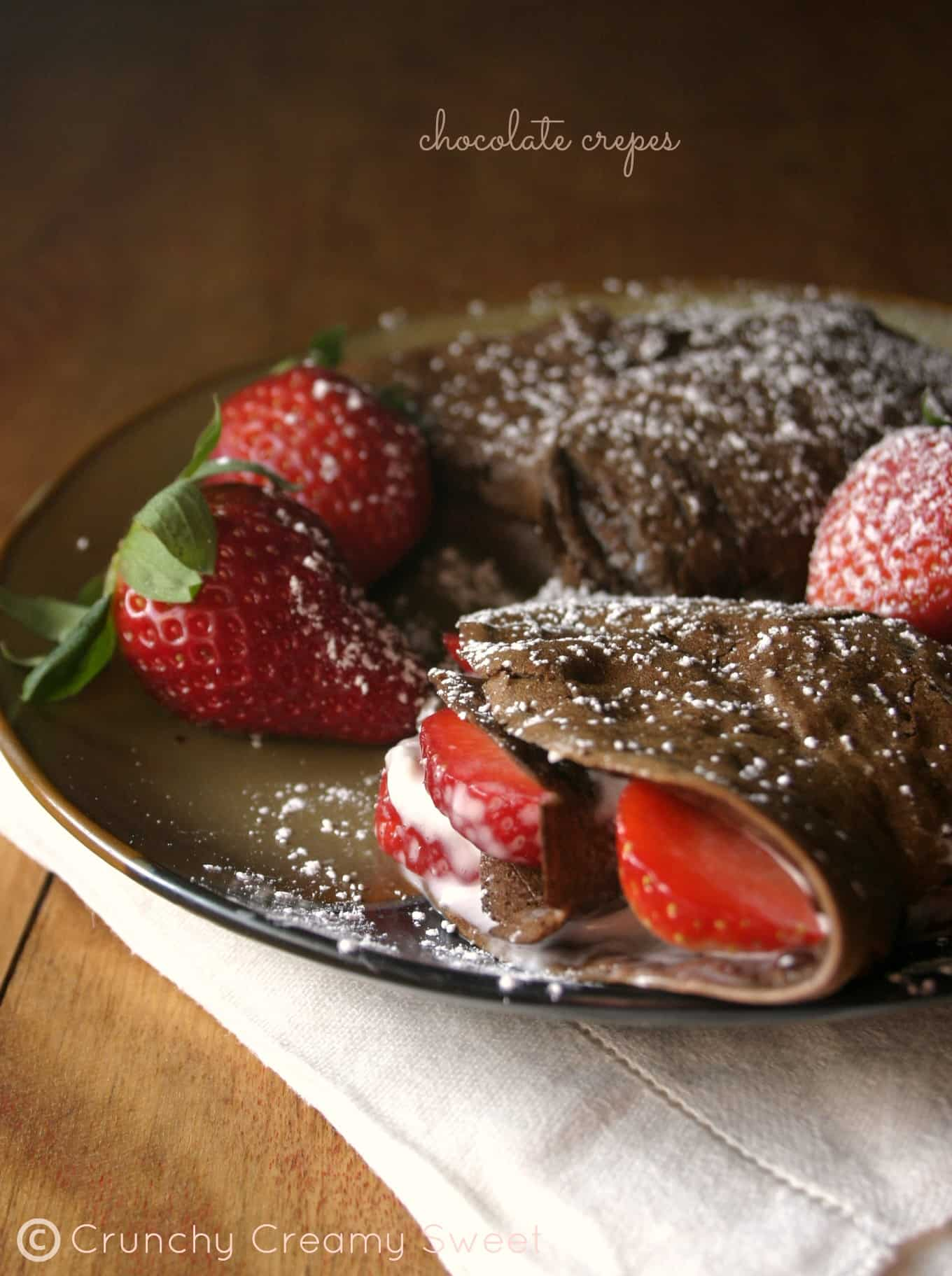 chocolate crepes 1 Chocolate Crepes with Strawberries and Cream Cheese