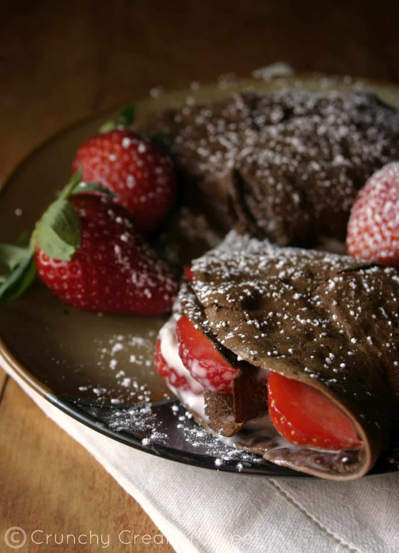chocolate crepes 2 Chocolate Crepes with Strawberries and Cream Cheese
