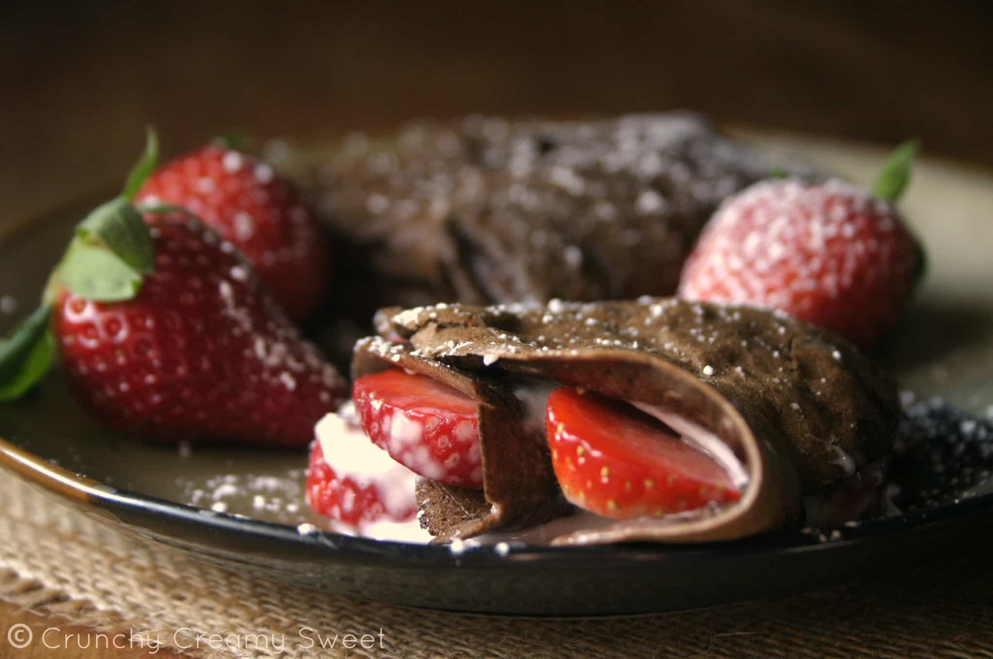 chocolate crepes 4 Chocolate Crepes with Strawberries and Cream Cheese