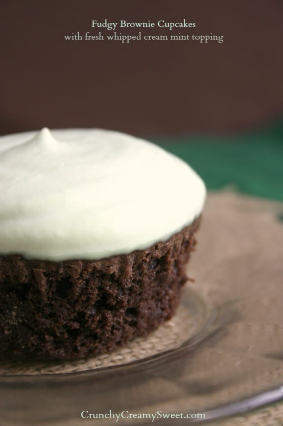 brownie cupcakes 1a Fudgy Brownie Cupcakes with fresh whipped cream mint topping