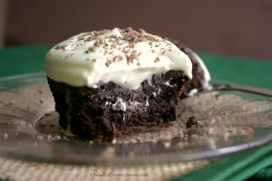brownie cupcakes 4 Fudgy Brownie Cupcakes with fresh whipped cream mint topping