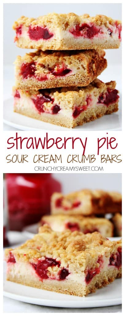 Strawberry Pie Sour Cream Crumb Bars the easiest crumb bars you can make So delicious The pie filling is a great shortcut crunchycreamysweet.com  407x1024 Strawberry Pie Sour Cream Crumb Bars