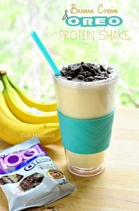 Banana Cream Oreo Protein Shake at TidyMom 198x300 What to do with over ripe bananas (recipe round up)