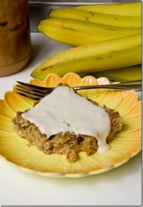 PB Banana Cake Bars w Cream Cheese Icing 5 thumb 208x300 What to do with over ripe bananas (recipe round up)