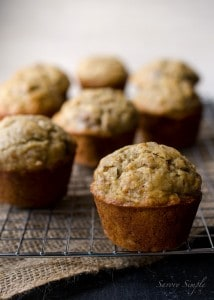 banana bread muffins 7489 214x300 What to do with over ripe bananas (recipe round up)