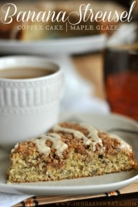 banana streusel coffee cake with maple glaze 200x300 What to do with over ripe bananas (recipe round up)