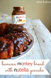 banana monkey bread nutella topping 199x300 What to do with over ripe bananas (recipe round up)