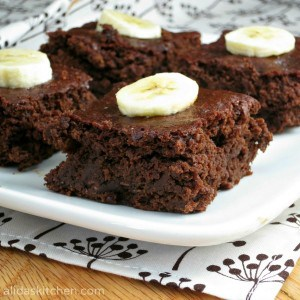 chocolate banana brownie sq13 300x300 What to do with over ripe bananas (recipe round up)