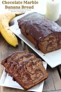 chocolate marble banana bread recipe 3 200x300 What to do with over ripe bananas (recipe round up)