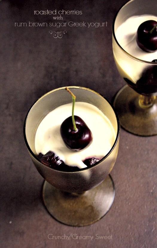 roasted cherries 1a Date Night Dessert: Roasted Cherries with Rum Brown Sugar Greek Yogurt