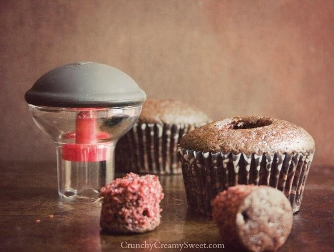 oxo cupcake corer Peanut Butter Surprise Chocolate Cupcakes #OXOGoodCupcake