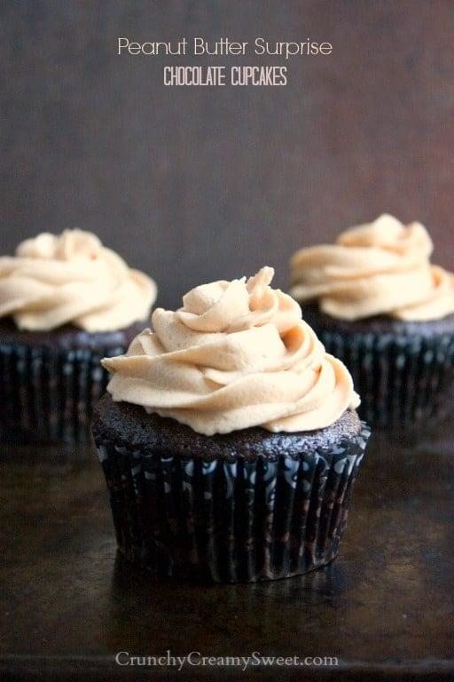 peanut butter surprise chocolate cupcakes 1 Peanut Butter Surprise Chocolate Cupcakes #OXOGoodCupcake