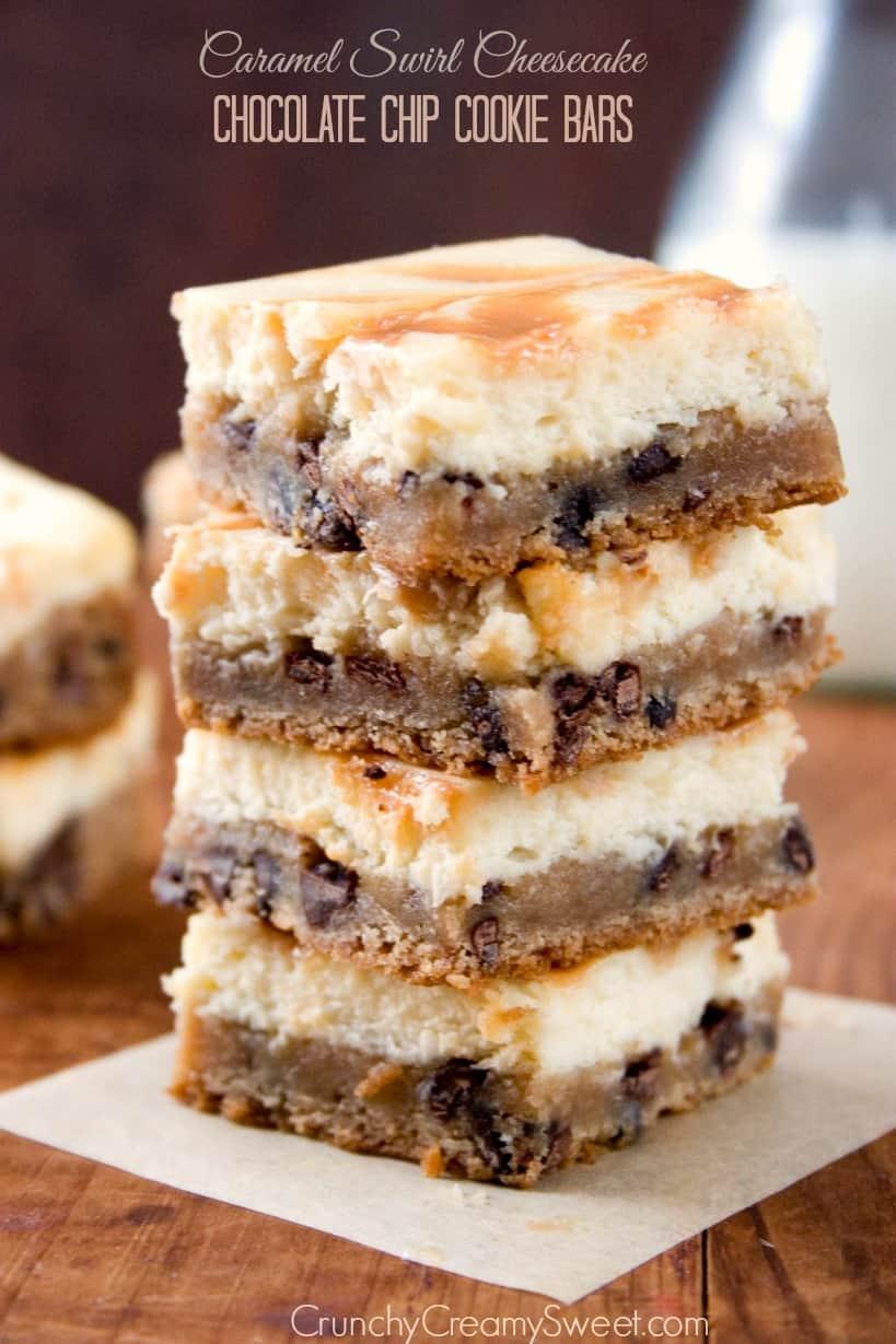 Caramel Swirl Cheesecake Chocolate Chip Cookie Bars ...