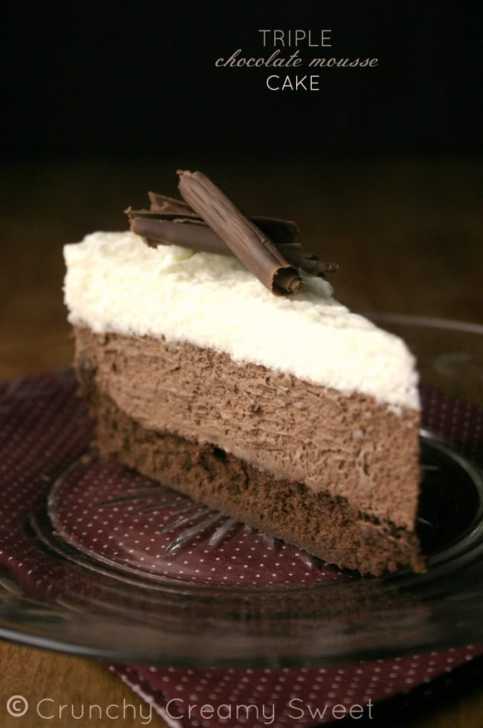 triple mousse 6 680x1024 Triple Chocolate Mousse Cake Recipe Card