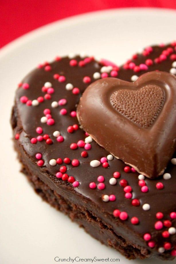 Heart Brownies1 Fudge Brownies with Chocolate Ganache