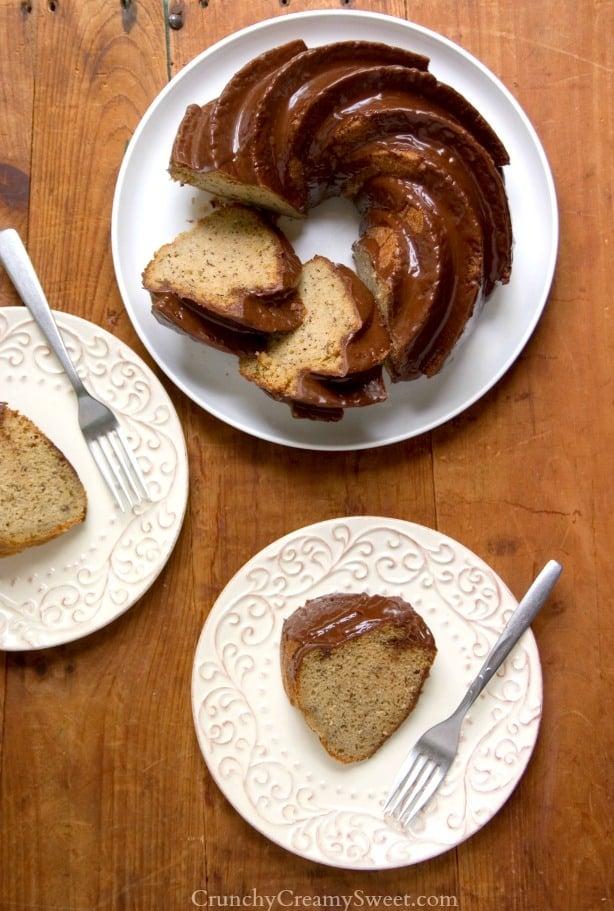 Banana Bundt Cake recipe from crunchycreamysweet.com Banana Bundt Cake with Chocolate Glaze Recipe