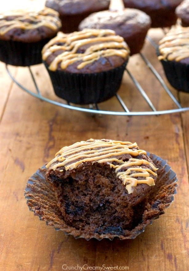 Chocolate Muffins with Peanut Butter Glaze Recipe from crunchycreamysweet.com Double Chocolate Muffins with Peanut Butter Glaze Recipe