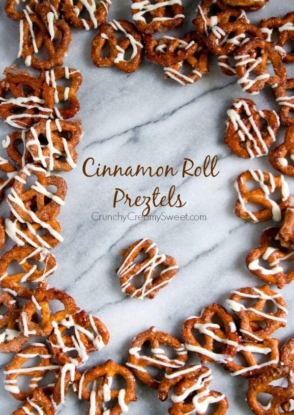 Cinnamon Roll Pretzels Recipe from crunchycreamysweet.com Cinnamon Roll Pretzels Recipe