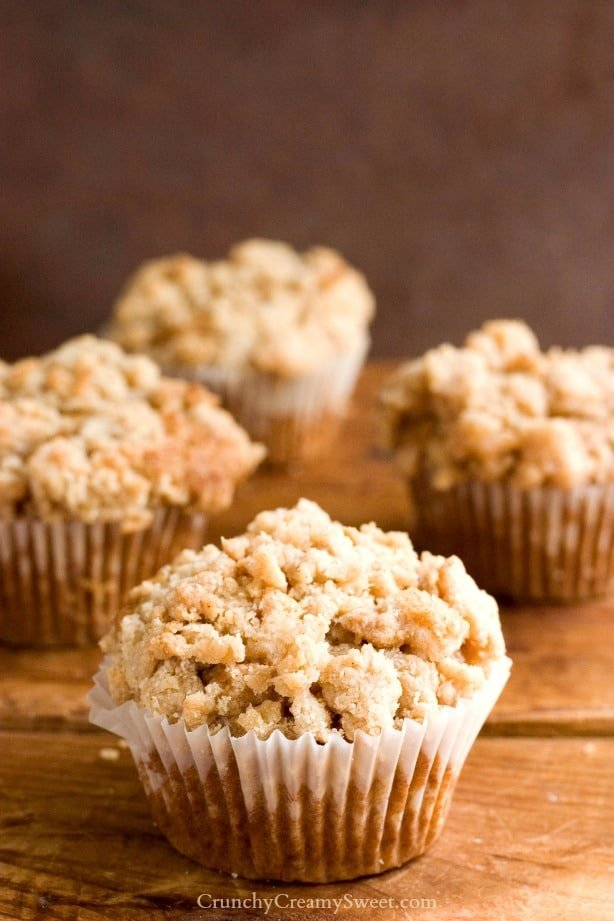 Coffee Cake Muffins Recipe by crunchycreamysweet.com  Cinnamon Coffee Cake Muffins Recipe