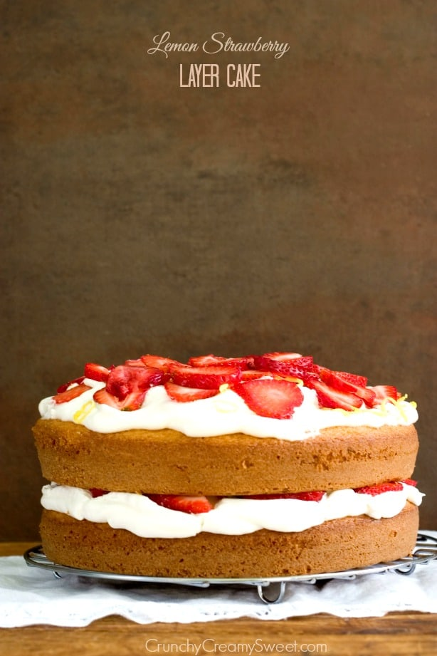 Lemon and Strawberry Layer Cake Recipe from crunchycreamysweet.com Lemon Strawberry Layer Cake Recipe