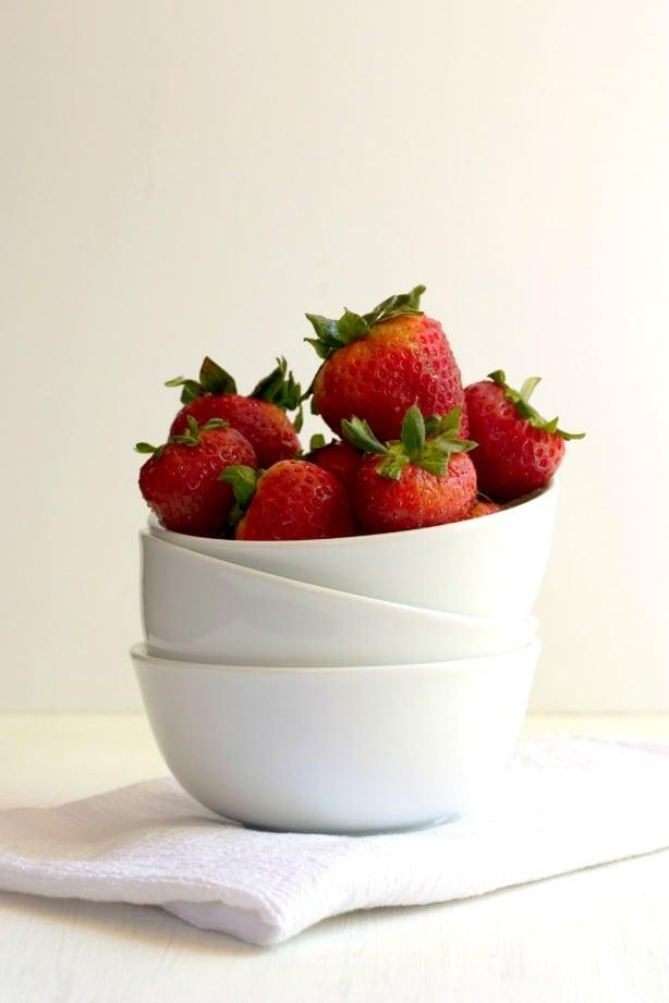 strawberries food photography by crunchycreamysweet.com Lemon Strawberry Layer Cake Recipe