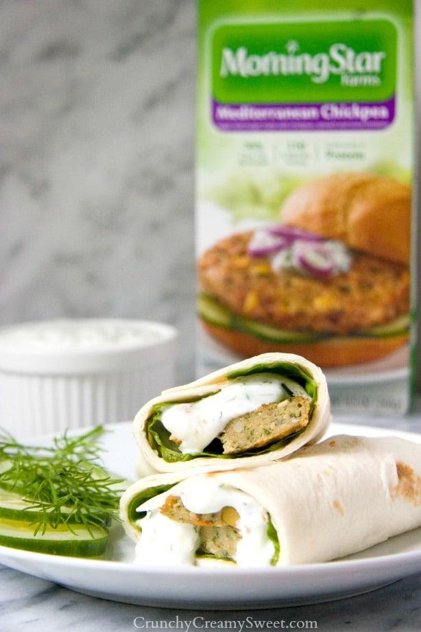 Mediterranean Chickpea Burger Wrap with Tzatziki Sauce from Crunchy Creamy Sweet Mediterranean Chickpea Burger Wrap with Tzatziki Sauce Recipe