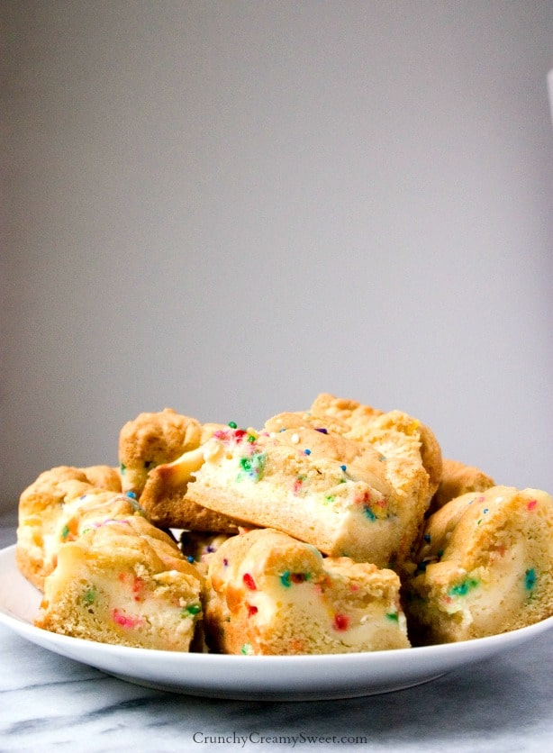 Sugar Cookie Bars with Funfetti Cheesecake Filling Funfetti Cheesecake Sugar Cookie Bars Recipe