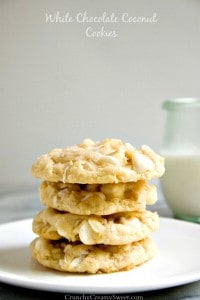 White Chocolate Coconut Cookies 200x300 Toasted Coconut and Dark Chocolate Chunk Cookies