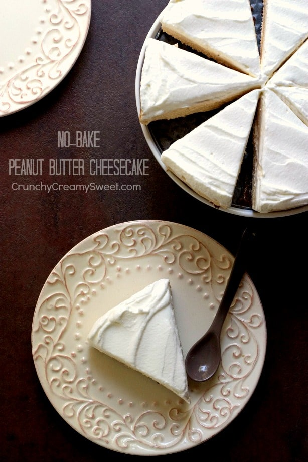 No Bake Peanut Butter Cheesecake from Crunchy Creamy Sweet No Bake Peanut Butter Cheesecake