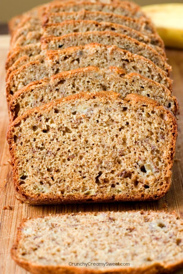 Banana Bread made with whole wheat flour and plain yogurt Peanut Butter Banana Blender Bread Recipe