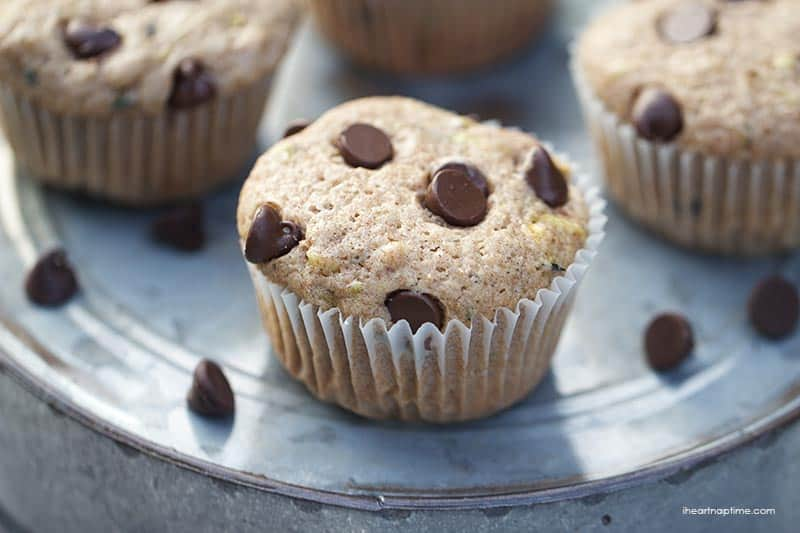 Chocolate chip zucchini muffins Back to school Snack Ideas