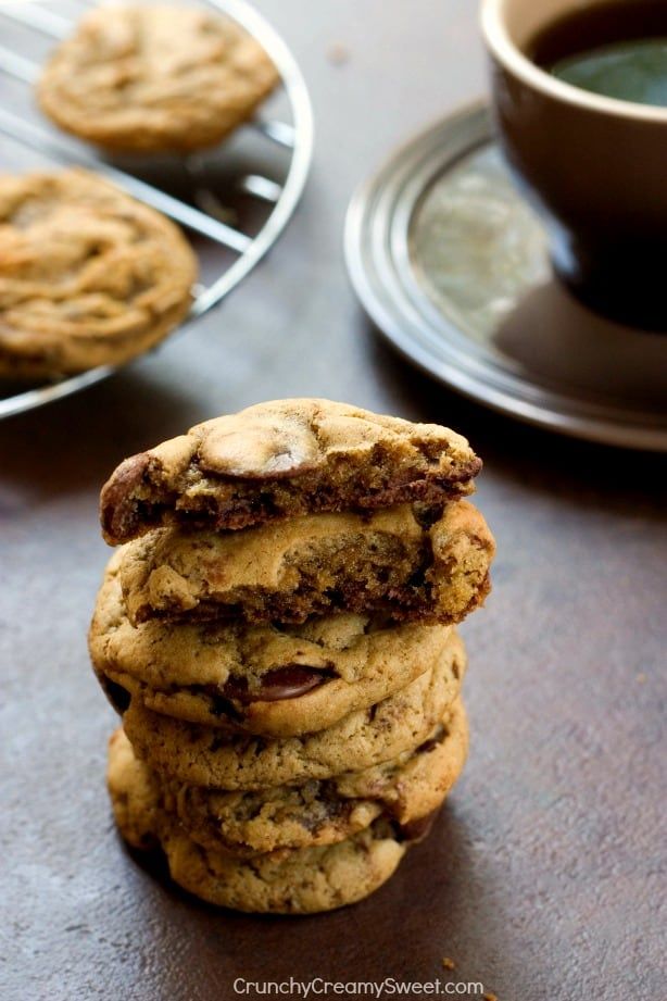 Coffee and Chocolate Chip Cookies from Crunchy Creamy Sweet Coffee Chocolate Chip Cookies