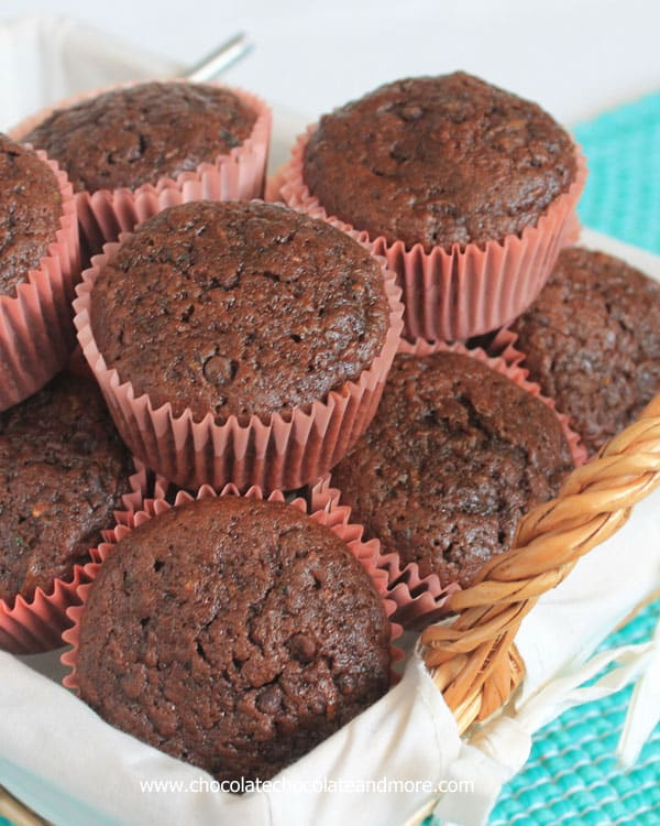Double Chocolate Zucchini Muffins from ChocolateChocolateandmore 70a Back to school Snack Ideas