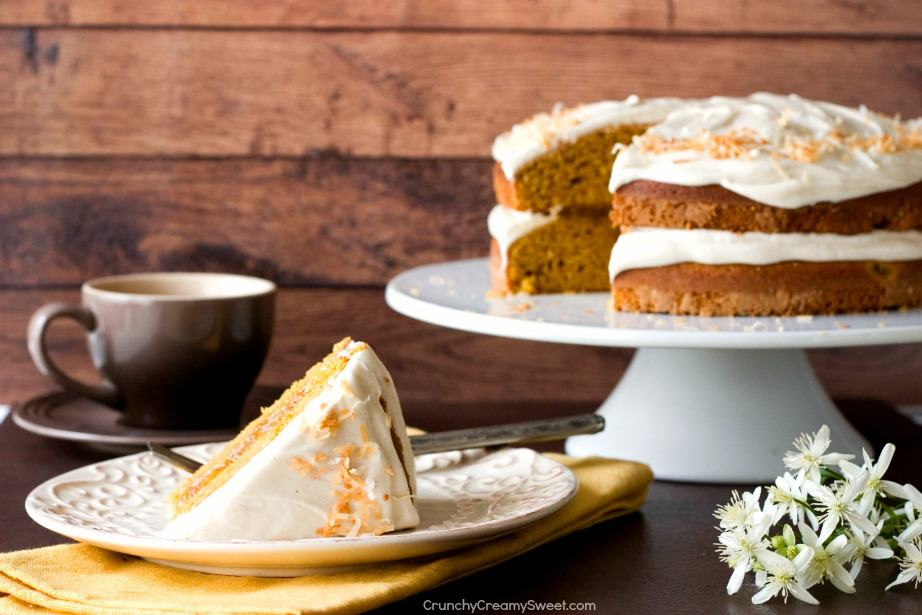 Pumpkin Layer Cake from Crunchy Creamy Sweet Pumpkin Layer Cake with Orange Ginger Filling and Cinnamon Cream Cheese Frosting