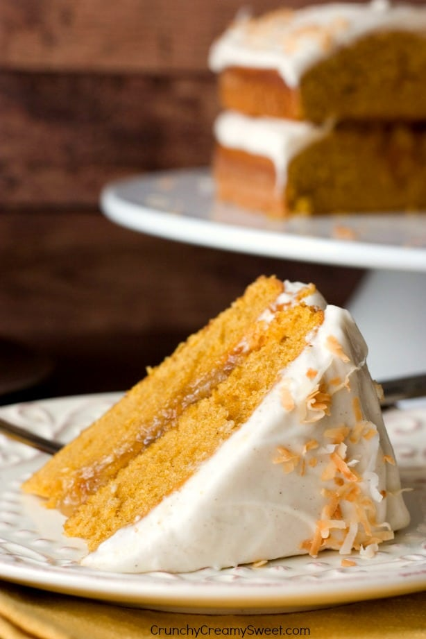 Pumpkin Layer Cake with Orange Ginger Filling and Cinnamon Cream Cheese Frosting from Crunchy Creamy Sweet blog Pumpkin Layer Cake with Orange Ginger Filling and Cinnamon Cream Cheese Frosting