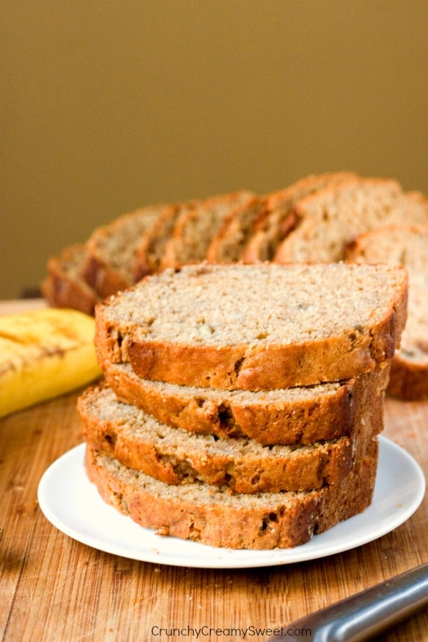 Super Easy Banana Bread made healthier with whole wheat flour and plain yogurt Whole Wheat Yogurt Banana Bread with Cinnamon