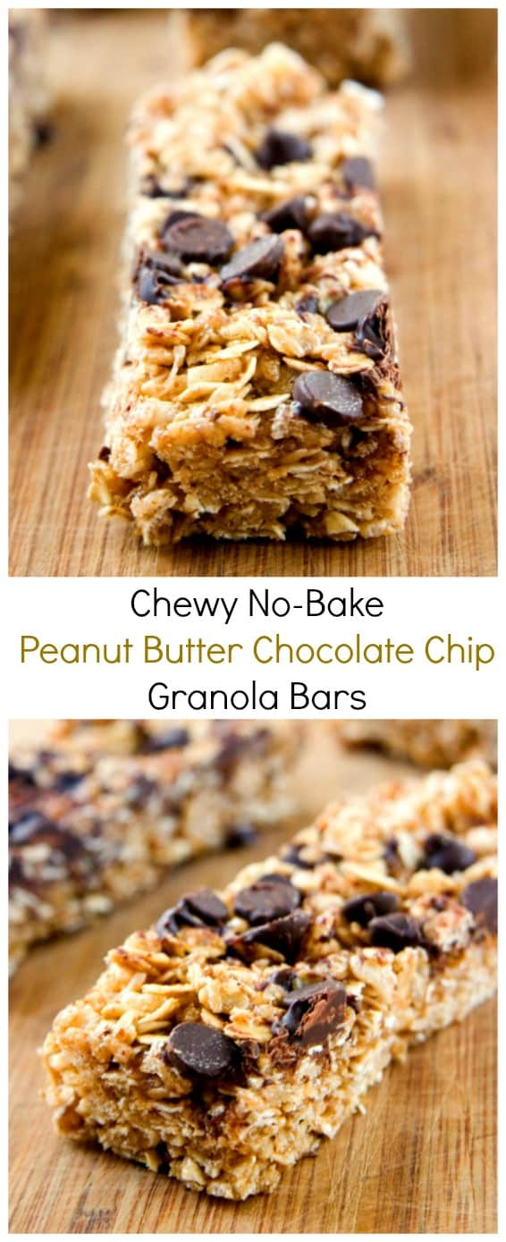 Chewy peanut butter chocolate chip granola bars crunchy