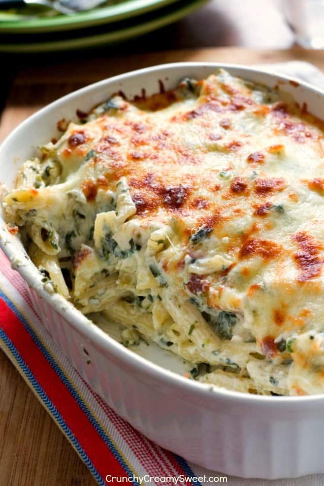 Creamy and Cheesy Spinach Dip Chicken Pasta Cheesy Spinach Dip Chicken Pasta Recipe Card