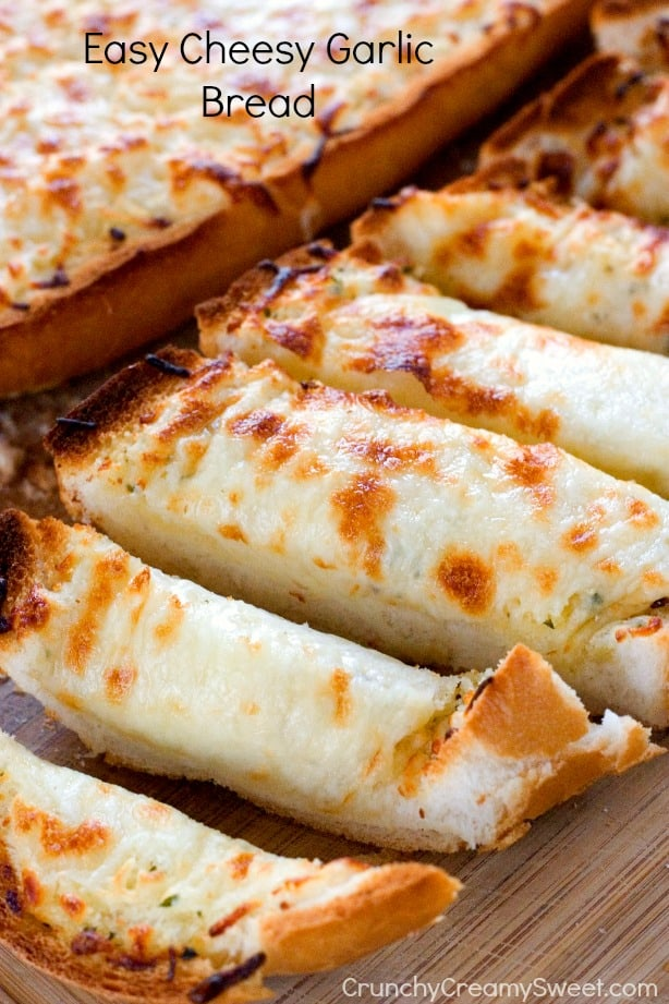 Easy Cheesy Garlic Bread by Crunchy Creamy Sweet blog Cheddar Bacon Ranch Pull Apart Bread Recipe