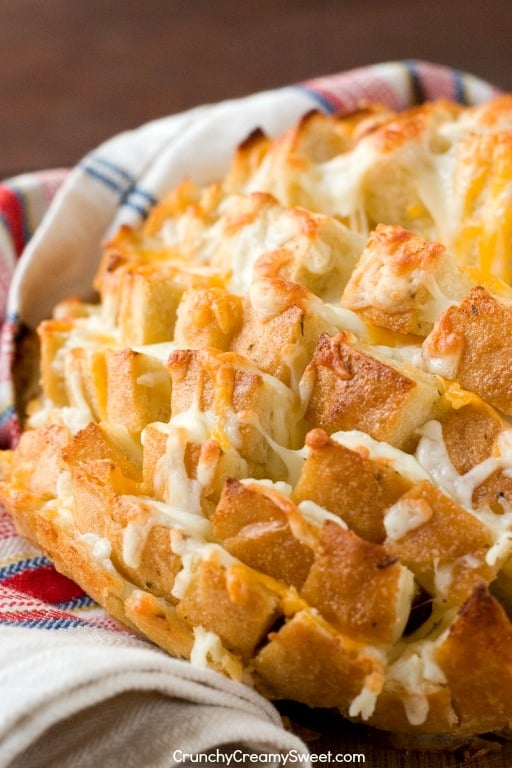 Easy Cheesy Garlic Pull Apart Bread gooey melted cheese makes this snack a real treat Jalapeno Popper Cheesy Garlic Bread