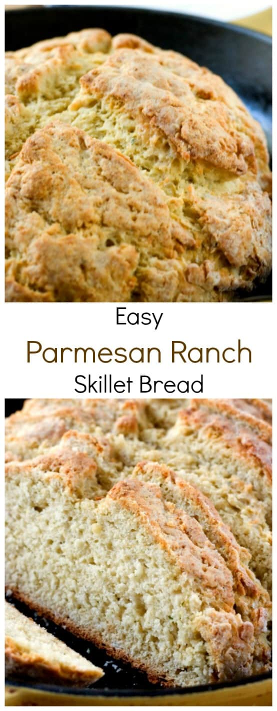 Easy Parmesan Ranch Skillet Bread from Crunchy Creamy Sweet blog1 Parmesan Ranch Skillet Bread