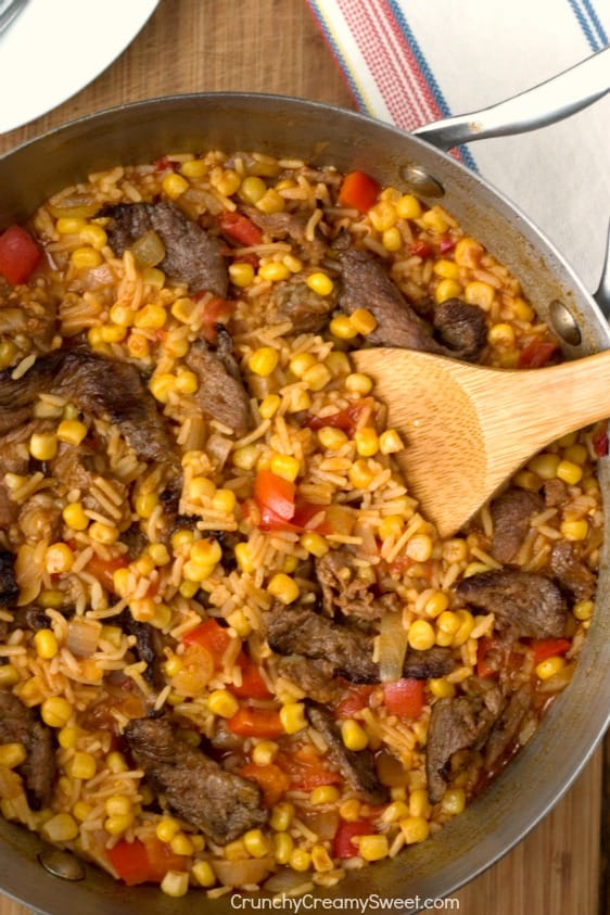 Fiesta Fried Rice with Beef Peppers and Corn Fiesta Fried Rice