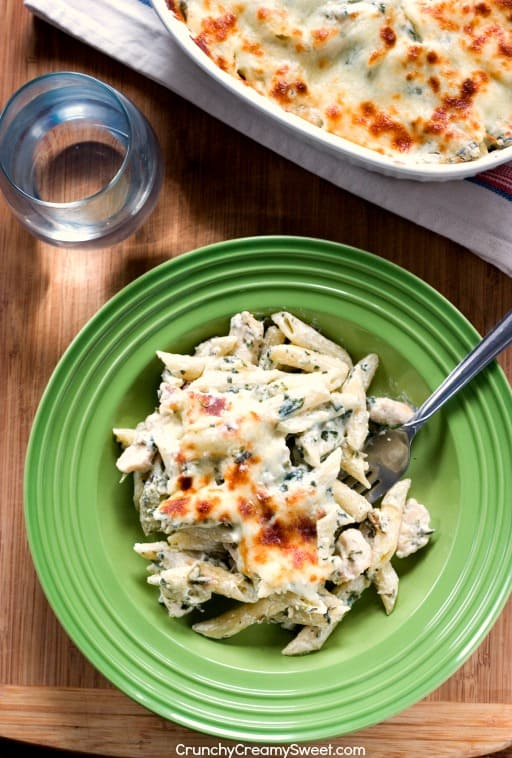 Spinach Chicken Pasta Bake creamy and cheesy dinner idea Cheesy Spinach Dip Chicken Pasta