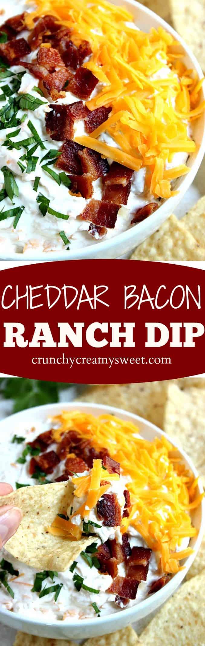 cheddar bacon ranch dip long Cheddar Bacon Ranch Dip